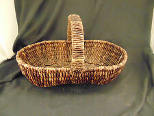 Basket with handle dark rattan oval shaped fruit holiday cards flowers plants
