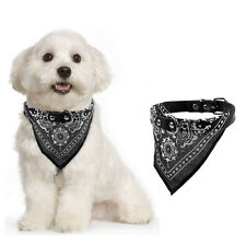 Adjustable Small Pet Dog Cat Neck Scarf Bandana with Leather Collar Neckerchief