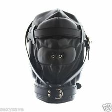 Leather Bondage Full Contact Hood Black OS Mask Padded Hood Fetish Locking