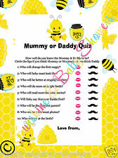 Baby Shower Game Mummy or Daddy To Be Quiz BUSY BUMBLE BEE 20 Sheets Players