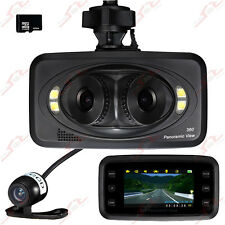 "2,7"" Panoramic View 3 Linsen Unfall Kamera Auto DVR Dashcam G-Sensor + 16G TF"