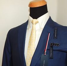 TOMMY HILFIGER TRIM FIT MENS SUIT STRETCH PERFORMANCE BLUE COTTON 40R / 34W