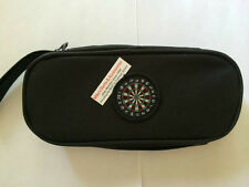 BLACK LARGE ZIPPER DART CASE WITH PLASTIC INSERT TO HOLD FULLY LOADED DARTS