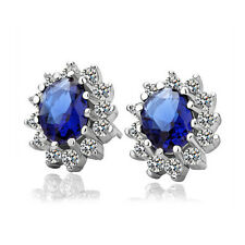 Women's Fashion Oval Zircon Crystal Ear Stud Earrings White Gold Filled Jewelry