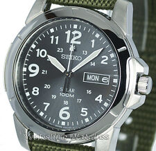 New Mens Seiko Solar Black Dial & Khaki Military Buckle Strap SNE095P2