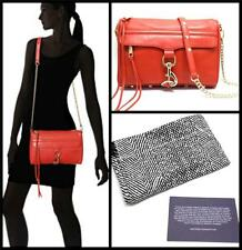 NEW REBECCA MINKOFF MAC Red Leather CROSSBODY Messanger CLUTCH Gold Chain Strap