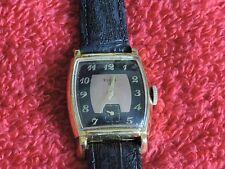 1940s/50s Elgin 17 Jewel Watch w Copper & Black Dial 14k G. F. & Bk Leather Band