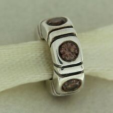 Authentic Pandora 790368BCZ Trinity Brown CZ Spacer Sterling Silver Bead Charm