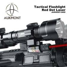 Tactical Torch Flashlight & Red Dot Laser Sight Scope Rifle Hunting Mount Rail