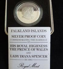 1981 SILVER PROOF FALKLAND ISL'S 50p COIN BOX + COA  WEDDING OF CHARLES & DIANA