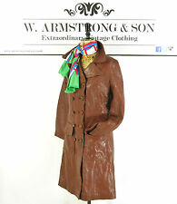 Women's Vintage 70's GENUINE LEATHER Brown Trench Mac Alexa Mod Chic Coat UK 10