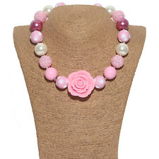 42cm Pink Flower Chunky Gumball Bead Bubblegum Necklace For Kids Christmas Gift