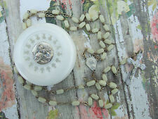 Vintage Catholic Rosary - cream white 4x6mm glass & Holy Communion Case