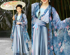 China Tang Kimono Blue Fairy Floral Chiffon Dress Custom Made Casual Wear HanFu