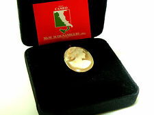M+M SCOGNAMIGLIO 14K Cornelian Lady Carved Cameo Brooch or Pendant Italy
