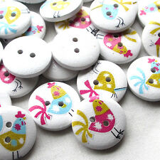 New 50pcs Chicken Wood Buttons 20mm Sewing Craft 2 Holes Wholesales T0761