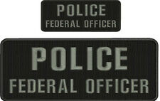 POLICE FEDERAL OFFICER 4X10 and 2x5 hook black background grey letters