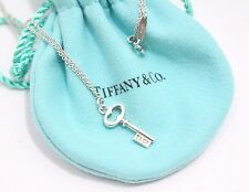 Auth Tiffany & Co. Sterling Silver Mini Oval Key Pendant Necklace