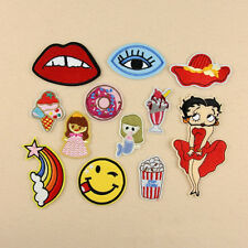 12 x Embroidered Girl Lips Sew Iron On Patch Badge Bag Hat Jeans Fabric Applique