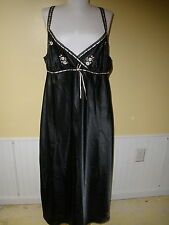 Morgan Taylor Intimates XL black 3/4 length sexy gown with pink flowers sexy