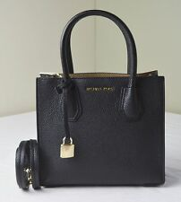 Michael Kors Black Pebble Leather Mercer Medium Messenger Satchel