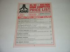 Brochure~Atari XL/XE + 400/800 Home Computer Price List~January 1986~Silica Shop