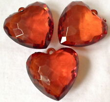 3 XL COPPER COLOUR HEART ACRYLIC PENDANT JEWELLERY MAKING CRAFTS 40mm CHP0206