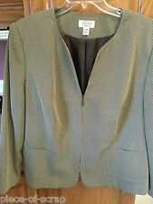 TALBOTS Ladies Blazer 18W 18 W Womans Lined business suit jacket Brown