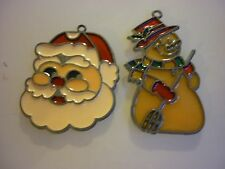 Vintage Set 2 Metal Christmas Santa Snowman Stained Glass Like Ornaments