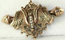 VICTORIAN ANTIQUE TAILLE D' EPERGNE BLACK ENAMEL SEED PEARL CHATELAINE PIN