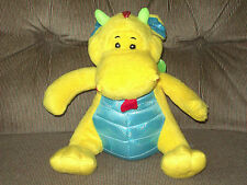 "Animal Adventure 9"" Soft Plush Sitting YELLOW DRAGON Shimmery Wings/Chest/Plates"