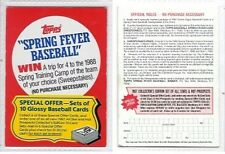 1987 TOPPS SPRING FEVER BASEBALL SWEEPSTAKES GAME CARD