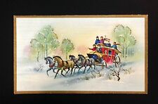 UNUSED Blue Pink Horse Drawn Coach Vintage Mid-Century Xmas Card Fantastic!