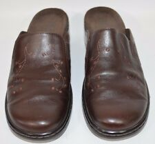 Clarks Brown Mules Slip On Clogs Womens Size 8M Style 70879 Decorative Stitches