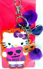Hello Kitty Halloween Backpack Clip On Key Chain Jack-O-Lantern Charms Pom-Poms