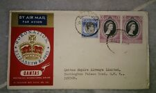 Malaya Singapore Qantas First Flight FDC 1953 QE Queen Elizabeth II Coronation