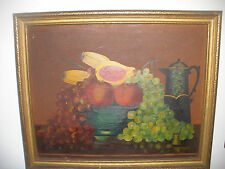 Vintage oil on canvas still life  fruits pitcher painting signed Anna Stalder