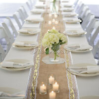 Exotic Jute Hessian Lace Table Runner 108 x 12in Wedding Party  Dinner Supplies