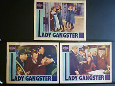LADY GANGSTER - 6 CRIME NOIR LOBBY CARDS - TOUGH WOMEN IN + OUT OF PRISON FLOREY
