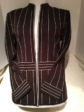 Ming Wang Open Front Knit Cardigan, Brown With White Pinstripes, M