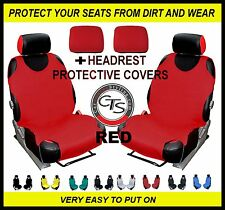 2x CAR SEAT COVER T-SHIRT VEST FRONT + HEADREST RED Ford Fiesta Zetec
