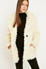 NEW URBAN OUTFITTERS COOPERATIVE SIZE S IVORY FAUX FUR COAT £119 EXCELLENT CON