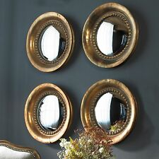 """17"""" SET OF FOUR PLATED OXIDIZED COPPER ROUND CONVEX WALL MIRRORS WALL ART DECOR"""