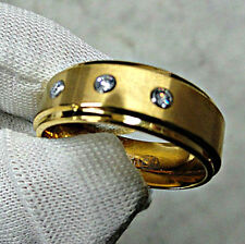 TUNGSTEN CARBIDE Gold Plated RING with Three Cubic Zirconia Stones, size 12