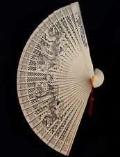 Chinese Sandalwood Dragon playing bead Design Hand Folding Hollow out Tassel Fan
