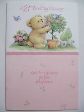 LOVELY GLITTER COATED CUTE TEDDY BEAR & PINK ROSES 21ST BIRTHDAY GREETING CARD
