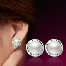 New Korea Fashion Womens 925 Sterling Silver Freshwater Pearl Ear Stud Earrings