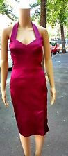 CUE ~ Size 8 ~ Sexy Wine Coloured Satin-Like Halterneck Knee Length Wiggle Dress