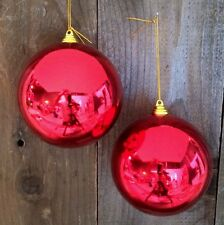 "2 SHINY RED 5"" CHRISTMAS BALL PLASTIC OUTDOOR ORNAMENTS 5"" wide RED"