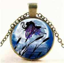 Vintage Fairy Dance In Moon Cabochon Glass Bronze Chain Pendant Necklace